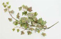 Flocked Ivy Vine-Green & Burgundy Veins