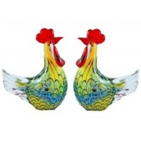 Glass Hen and Rooster