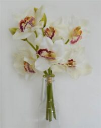 Cymbidium Orchid Bouquet White with 3 stems