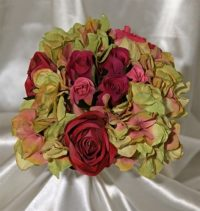 Vintage Fusia Rose & Hydrangea Silk Wedding Bouquet