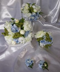 White Peony, Blue Hydrangea & Green Berry Wedding  Bouquet