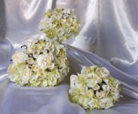 Vintage Green Rose & Hydrangea Silk Wedding Bouquet