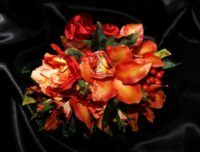Hot Orange Cymbidium, Roses & Berry Brides Bouquet.