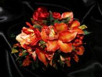 Hot Orange Cymbidium, Roses & Berry Brides Bouquet.