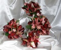 Nerines, Roses & Burgundy Calla Lily Brides Bouquet