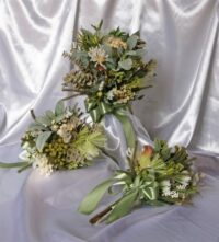 Organic Green & White Hand Tied Native Brides Bouquet