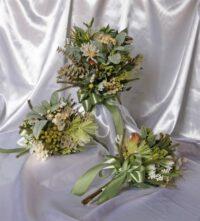 Organic Green & White Hand Tied Native Brides Bouquet