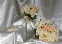 Pale Peach Rose Cluster Brides Bouquet