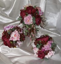 Peony Wine Berry Mix Bride's Cluster Bouquet