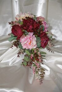 Peony Wine Berry Mix Teardrop Bouquet