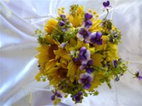 Rustic Sunflower, Wattle & Viola Premium Silk Flower Bouquet