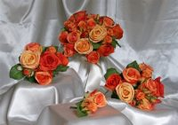Unbelievable Classic Orange Rose Silk Wedding Bouquet