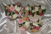 Vintage Coffee & Pink David Austin Style Rose Posy