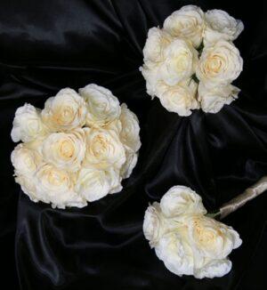 White Long Stemmed Silk Honey Moon Rose Wedding Bouquet