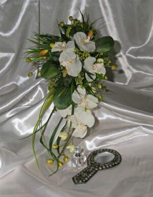 Organic Ivory, Phalaenopsis, Teardrop Brides Bouquet