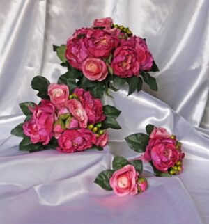 Hot Pink Peony & Rose Berry Bouquet.