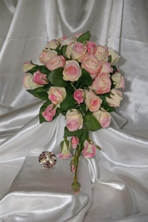 Classic Light Pink Silk Rose Teardrop Wedding Bouquet