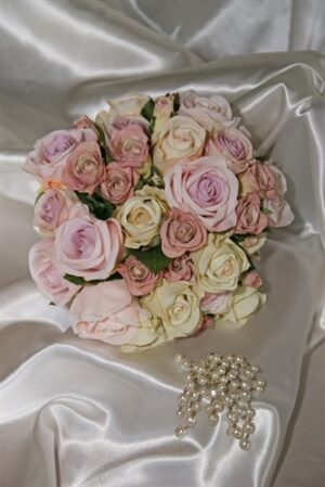 Classic Pink & Cream Silk Wedding Bouquet