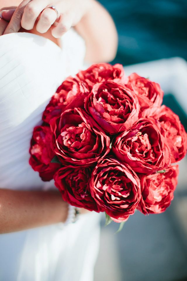 Silk Wedding Red Peony Bouquet